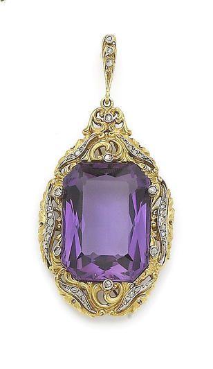Estate. Amethyst and Diamond Pendant.