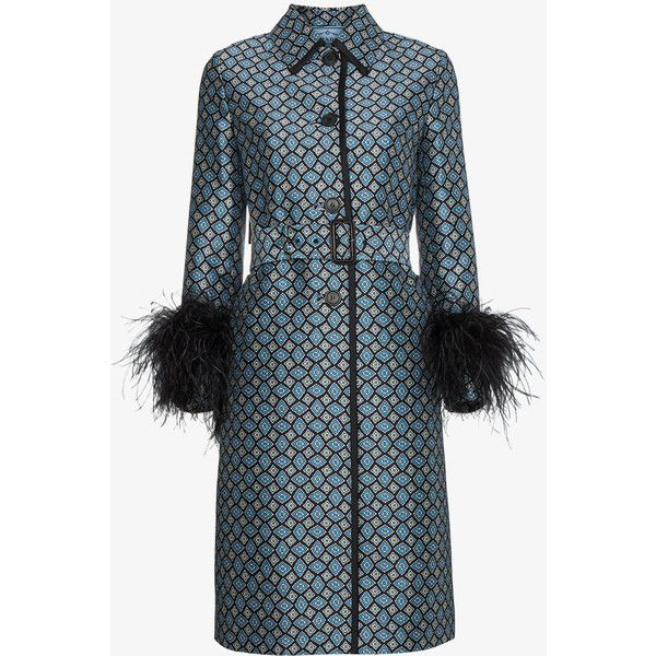 Prada Ostrich Feather Trimmed Wool Blend Coat ($4,680) ❤ liked on Polyvore featuring outerwear, coats, blue, wool blend trench coat, prada, blue trench coats, collar coat and blue coat