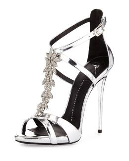 A silver version - only $1,750!!!  S0AF1 Giuseppe Zanotti Jewel-Embellished Metallic Evening Sandal, Silver
