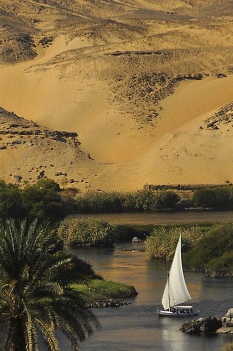 The Nile, river, Egypt, desert, arid, wadi, oasis, date palms, sailboat, sunset, Middle East, adventure, journey, sailing