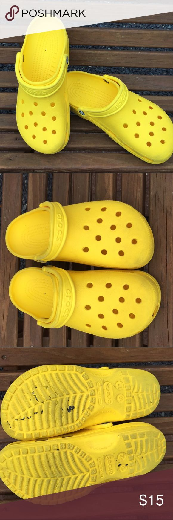 Crocs Yellow Closed Tow Sandals Shoes W12 M10 Size women's 12 or Mens 10. Still a ton of life in them. CROCS Shoes Sandals