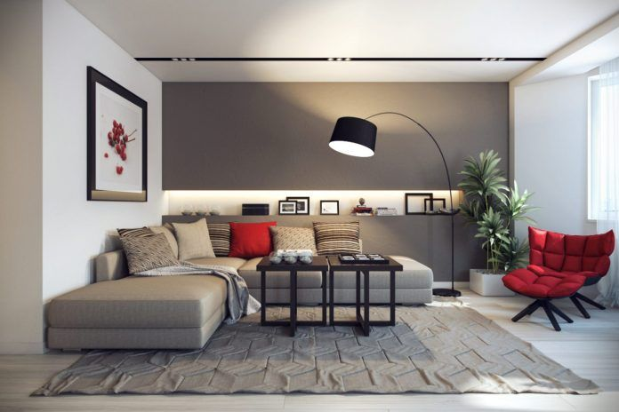 Black and Silver Living Room with Red Accents - Interior Design Ideas