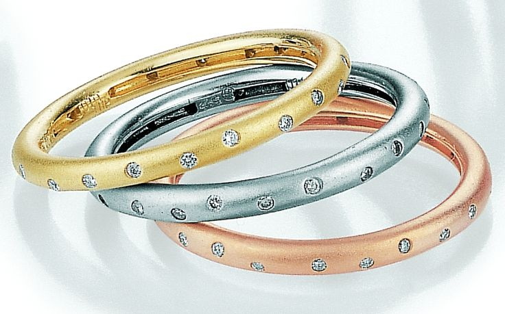 A beautiful and dainty set of eternity rings. #white #rose #yellow #eternity #matt #stacking #rings