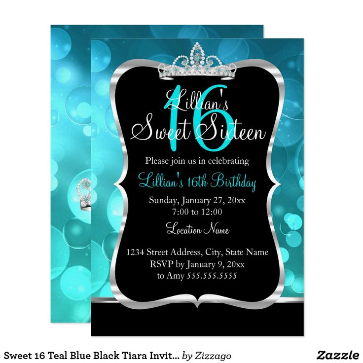 Sweet 16 Teal Blue Black Tiara Invitation Teal Blue Black Sweet 16 Birthday Invitation. Pretty silver & diamond tiara & shimmer silver design. Please note: All flat images, They do not have real jewels!