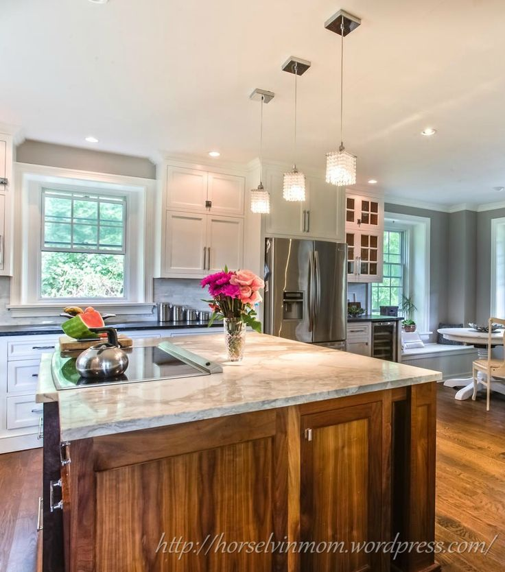 White Country Kitchen Design With Marble Countertop And Wood Drawer Underneath Also Cabinets