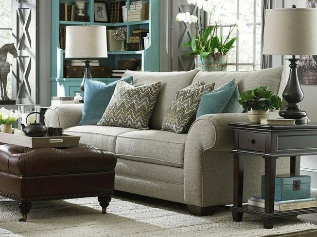Family Room with Blue Bookshelf, Sofa & Tufted Ottoman : Designers' Portfolio : HGTV - Home & Garden Television