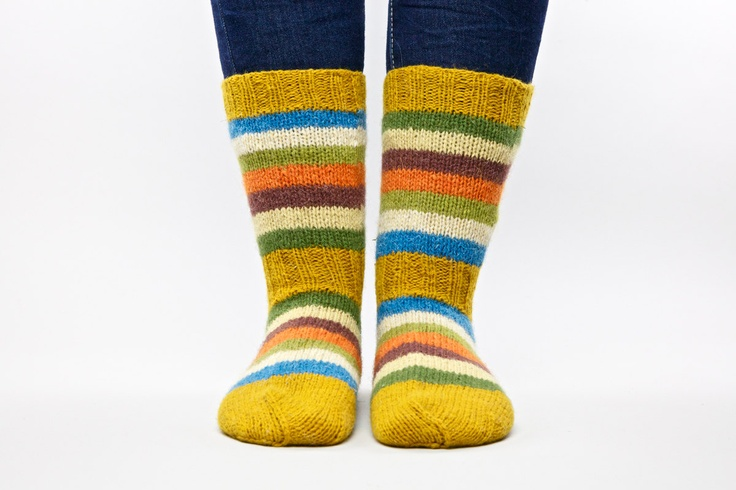 Colorful spring wool hand knitted socks for unisex adults.