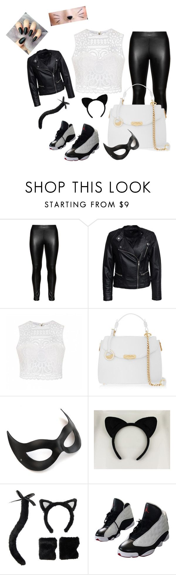"""""""Cat costume outfit fo @caylatorres contest"""" by lovermonster ❤ liked on Polyvore featuring Studio, Sisters Point, Ally Fashion, Versace and NIKE"""