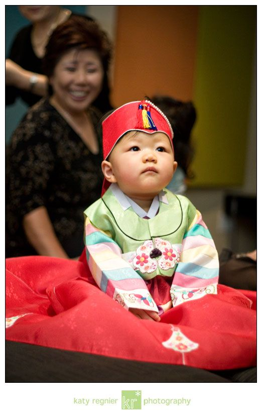 Beautiful picture of a baby in her hanbok.