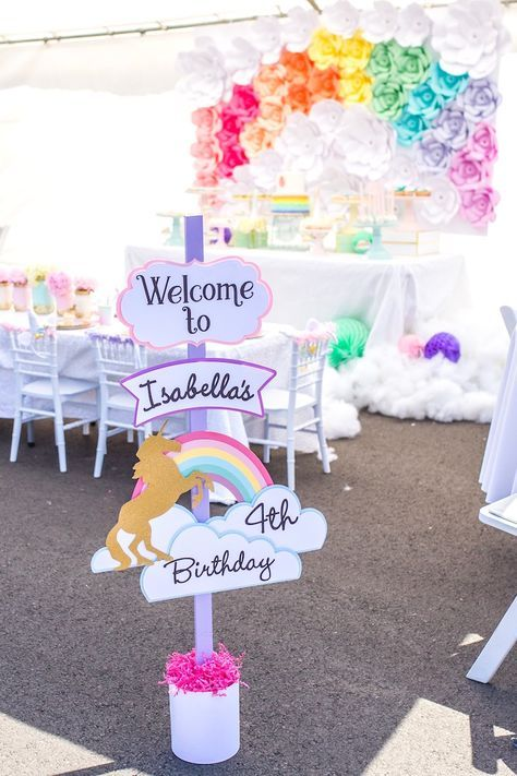 Welcome sign from a Magical Unicorn Birthday Party on Kara's Party Ideas | KarasPartyIdeas.com (14)