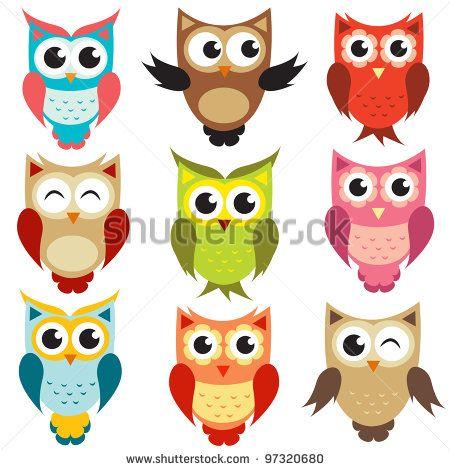 vector owls - stock vector