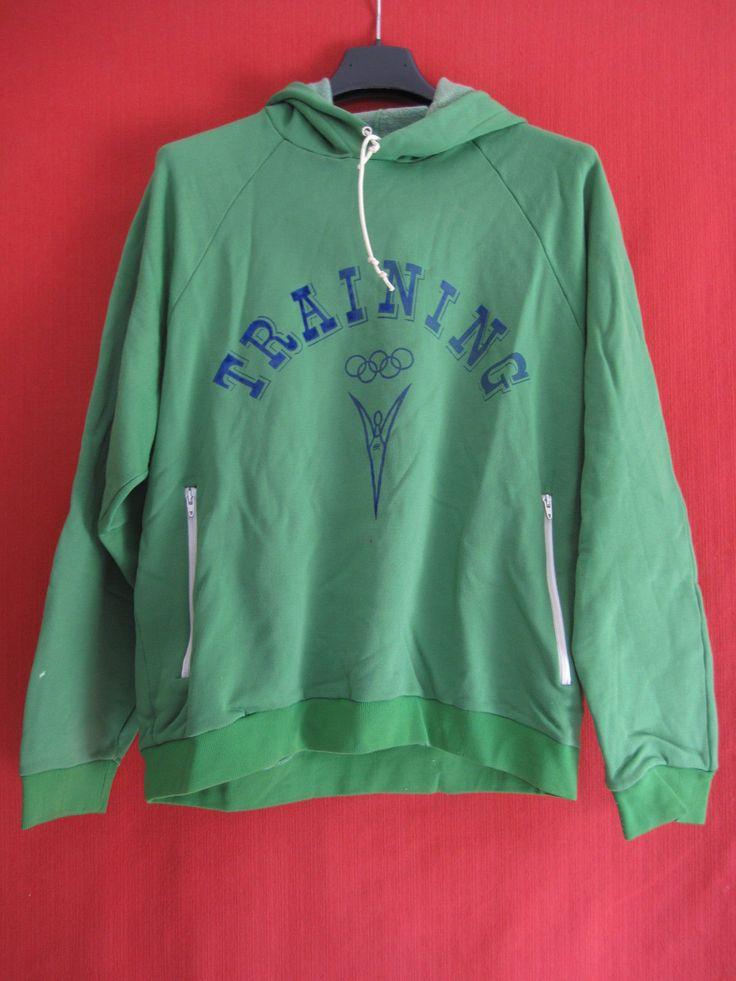 Sweat à Capuche Jeux Olympique vintage Rare Training Vert BE taille - S