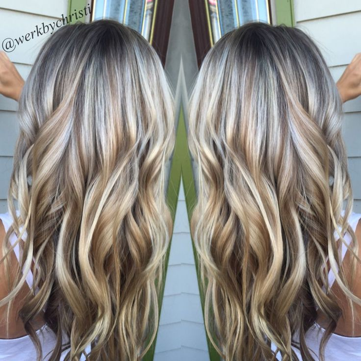 Highlights and lowlights, platinum blonde. Honey blonde. Balayage. Beach waves. Perfect hair. Hairstyles