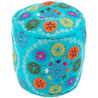The vivid collection of poufs is inspired by motifs and patterns from traditional suzani and ethnic textiles, these bright jewel colored poufs are at home in any global environment.