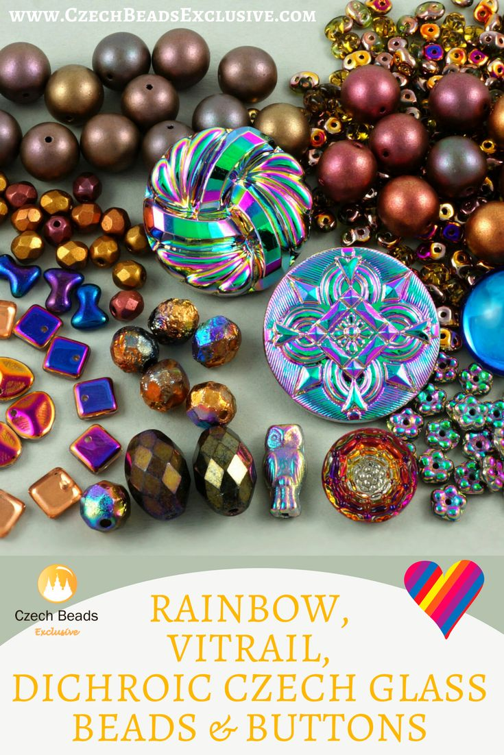 Rainbow, Vitrail, Dichroic Czech Glass Beads and Buttons | SAVE it! | CzechBeadsExclusive.com #czechbeadsexclusive #czechbeads
