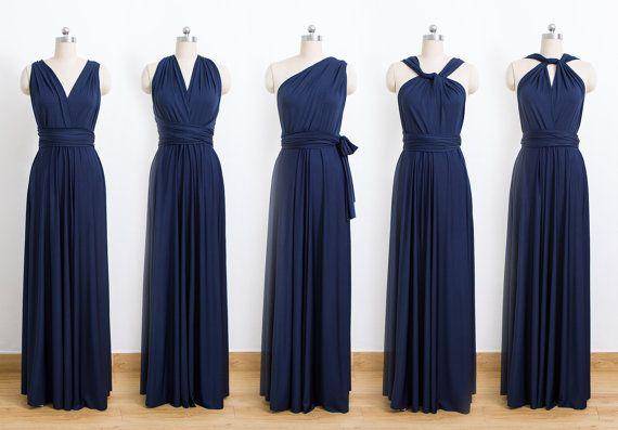Navy Blue Maxi Infinity Dress Convertible Bridesmaid