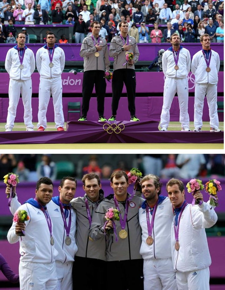 Olympic Games tennis men's doubles medalists: Bob and Mike Bryan of the USA – gold. Jo-Wilfried Tsonga and Michael Llodra of France – silver and Richard Gasquet and Julian Benneteau of France – bronze.