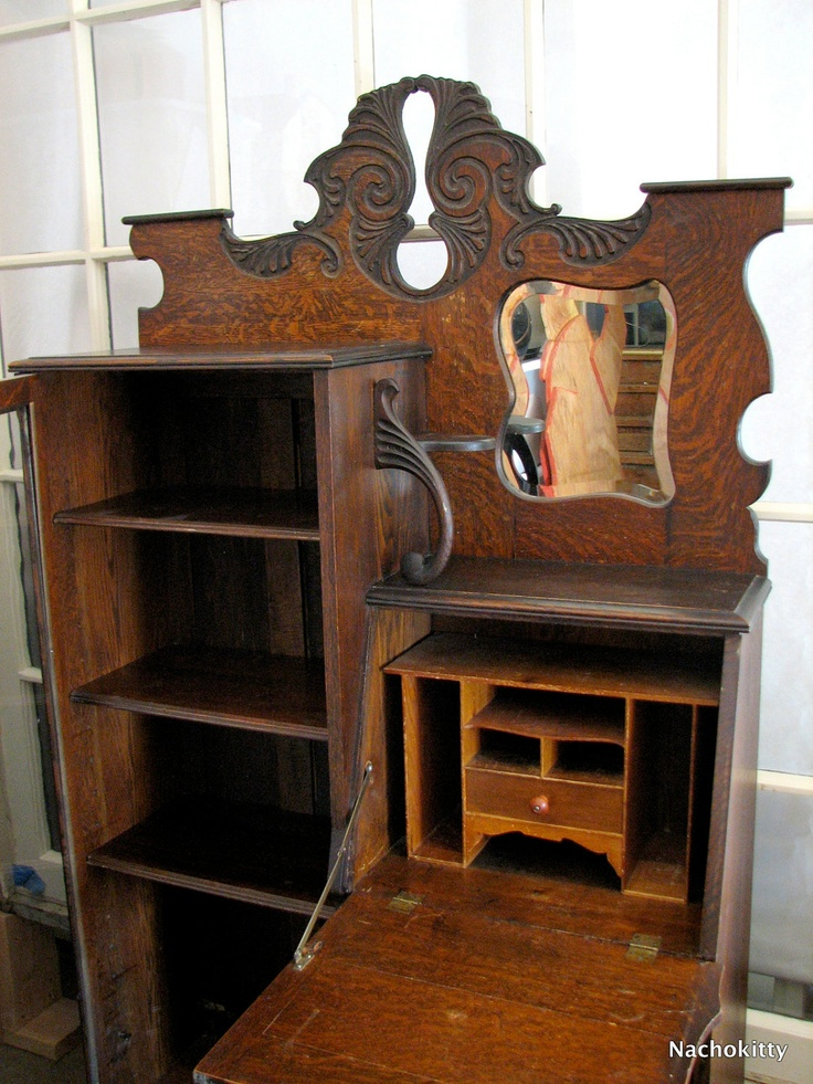 Attractive Art Nouveau Desk U0026 Glass Secretary Cabinet Circa 1900