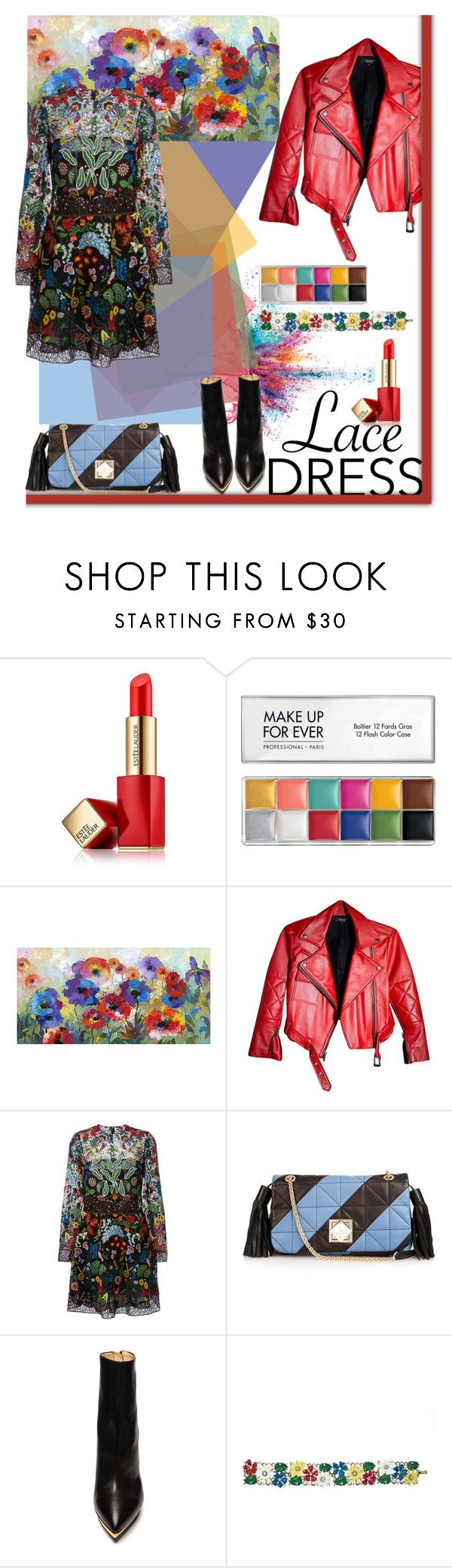 """color lace"" by iraavalon ❤ liked on Polyvore featuring moda, Givenchy, Estée Lauder, Universal Lighting and Decor, Valentino, Sonia Rykiel, Charlotte Olympia e Trifari"
