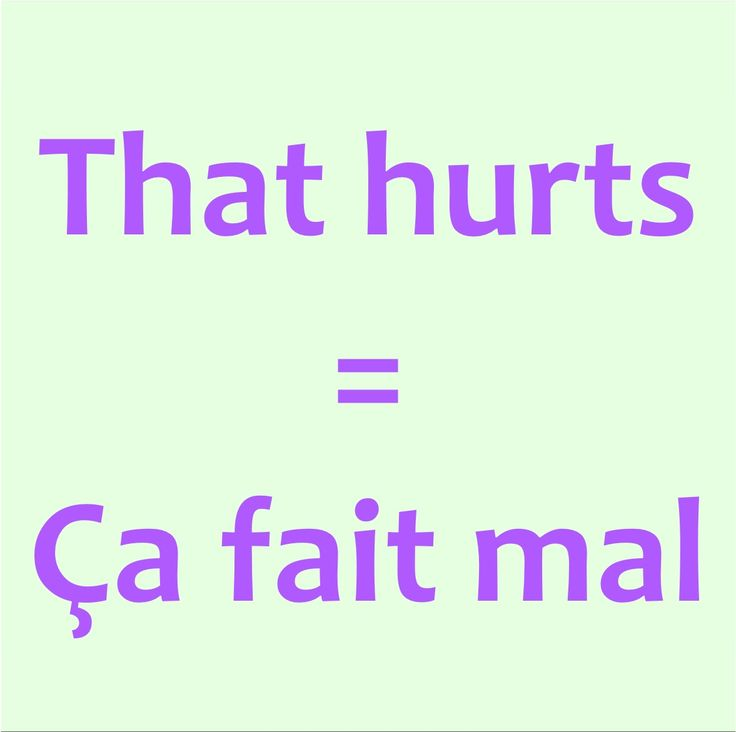 That hurts = Ça fait mal