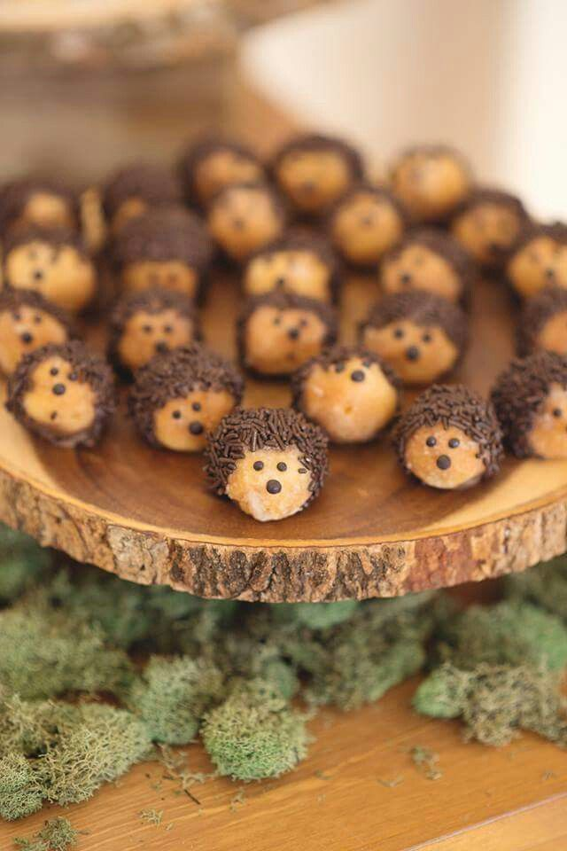 Hedgehog Donut Holes. These are easy to make with donut holes, chocolate, and sprinkles. (Ice Cream Cakes Party)