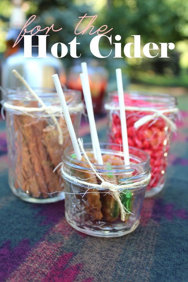For the apple cider bar -- love the idea of the caramel apple suckers to swirl in the cider!