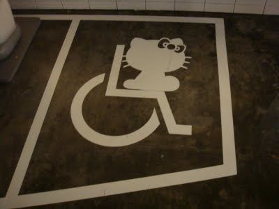Hello Kitty handicapped wheelchair parking sign