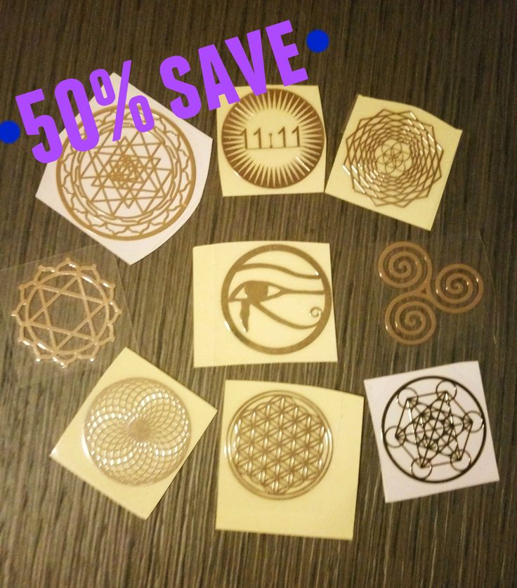 9 Sacred Geometry Sticker set - 50% off - Golden metal sticker! High vibrations di StargateOrgonite su Etsy