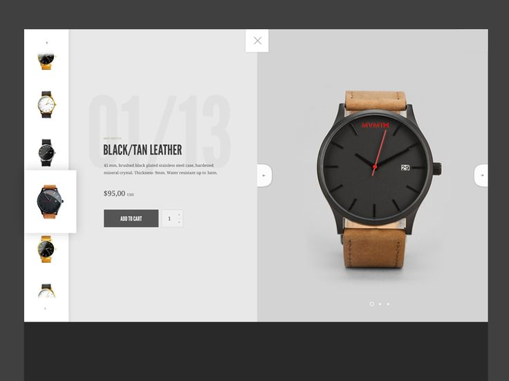 Working on layout idea for a watch preview page with slider with all products on the left, watch informations beneath and slider on the right side of a layout.   Check full size in attachment. ;)