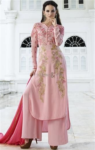 Captivating Pink Embroidered Georgette Punjabi Dress Design