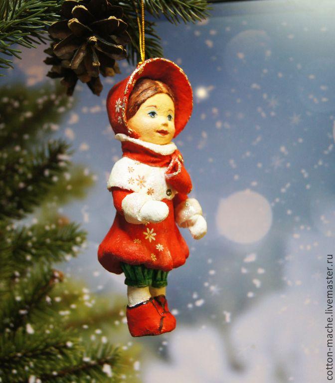 Новый год 2015 ручной работы. Ярмарка Мастеров - ручная работа Ватная ёлочная игрушка Маленькая Леди. Handmade. Бескаркасная, ватная Ёлочная игрушка в винтажном стиле.