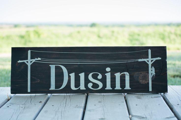 Custom Last Name Sign, Lineman Decor, Lineman Sign, Custom Lineman Sign, Powerlineman, Electrical Lineman, Linewife Sign, Lineman Family, by DusinDesigns on Etsy https://www.etsy.com/uk/listing/517057376/custom-last-name-sign-lineman-decor