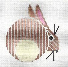 *NEW* Charley Harper Bunny Rabbit handpainted Needlepoint Ornament 18m Meredith