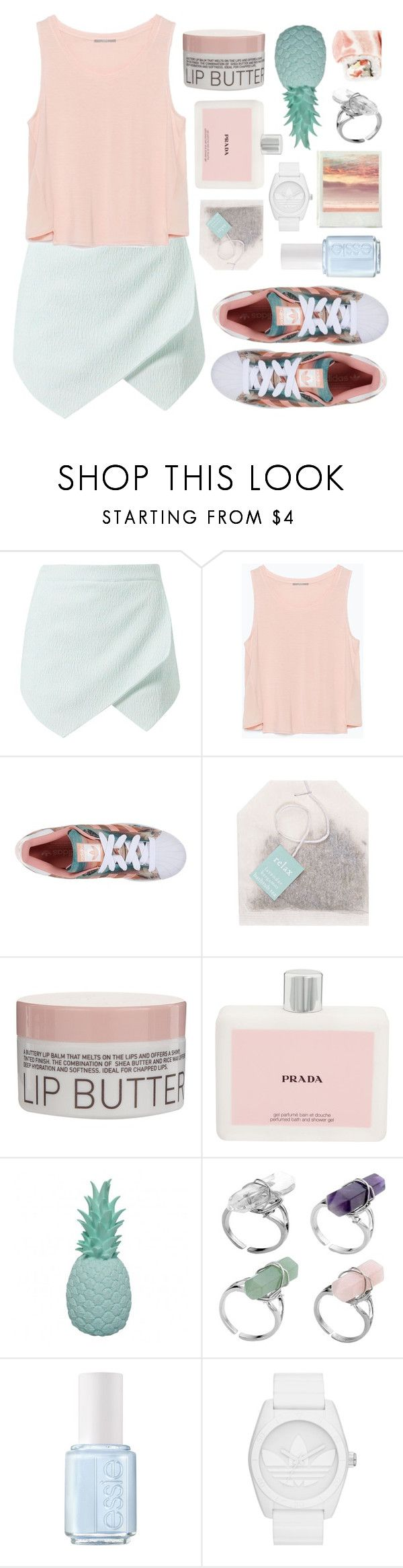 """""""''I gave you attention when nobody else was payin'..''"""" by felytery ❤ liked on Polyvore featuring Zara, adidas Originals, Korres, Prada, Ananas, Essie and Polaroid"""