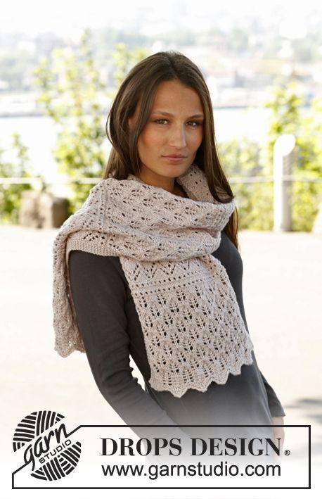 """Soft Magnolia - Knitted DROPS scarf with lace pattern in """"Karisma"""". - Free pattern by DROPS Design"""