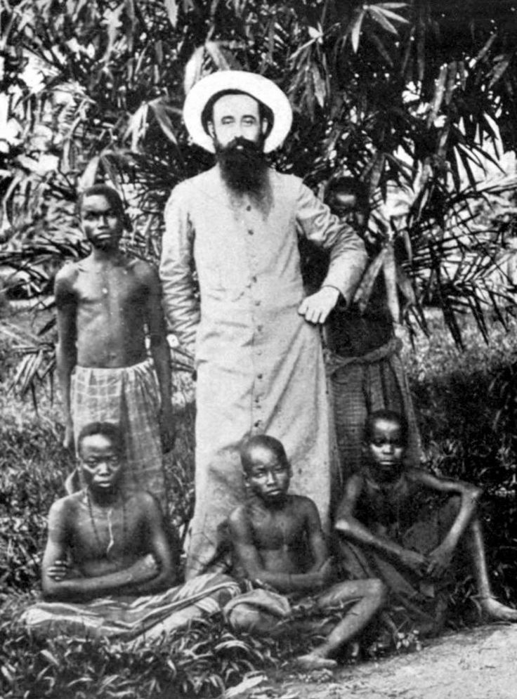 This photograph shows a Catholic father with some Congolese boys. The photograph was taken about 1902. Many of the reports about colonial abuses came from the Protestant and not the Catholic missionaries, who the King was able to effectively silence.