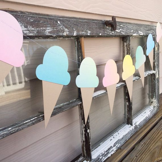 Celebrate your summer with this fun Ombre pastel ice cream cone Garland! Complete your summer party with these comes each measuring at 5 1/2 inches tall! This Garland measuring at 4 1/2 feet long its the perfect way to get social! ;)