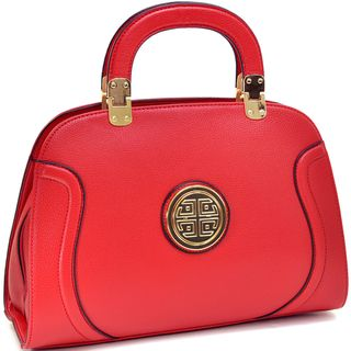Dasein Goldtone Emblem Stitched Handbag - Overstock™ Shopping - Great Deals on Dasein Shoulder Bags