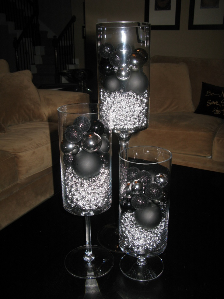 17 best images about black and silver christmas - Black silver and white party decorations ...