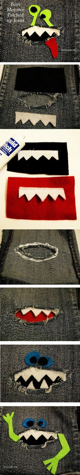 clothes REfashion - Monster patches for jeans