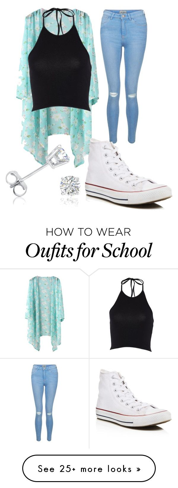 High school by christynstuff on Polyvore featuring New Look, Converse and Amanda Rose Collection