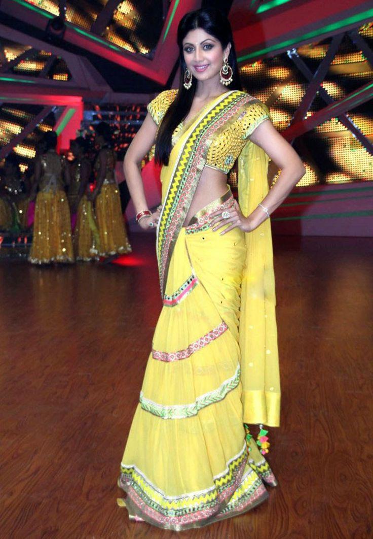 yellow saree shilpa shetty | Vestidos de la india ...