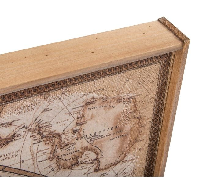 Cuadro Mapamundi, marrón y beige - 122x85 cm