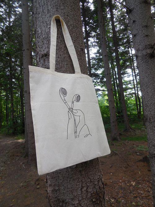 58c0cbb9a Plátěná taška - Naslouchám   plátěné tašky   Tašky