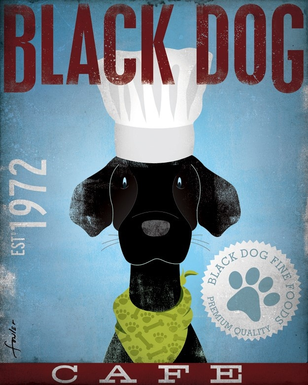 Black Dog Cafe original graphic art illustration hand signed giclee archival artists print 8 x 10