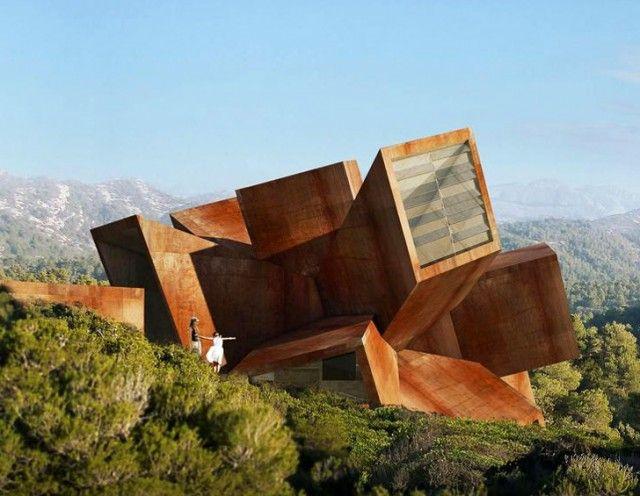 L'architecte Didier Faustino a conçu cette maison de vacances « Big Bang » : depuis un point central, son architecture donne l'image d'une explosion dans l'espace.