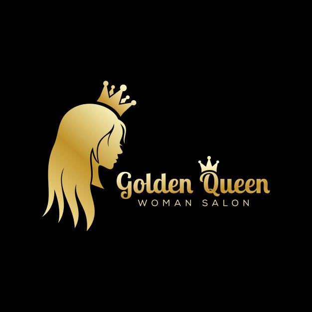 Golden Queen Logo Luxury Beauty Salon Logo Long Hair Logo Design Hair Logo Design Beauty Salon Logo Hair Logo