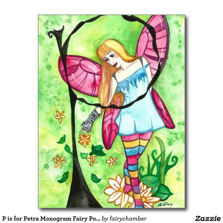 P is for Petra Monogram Fairy Postcard