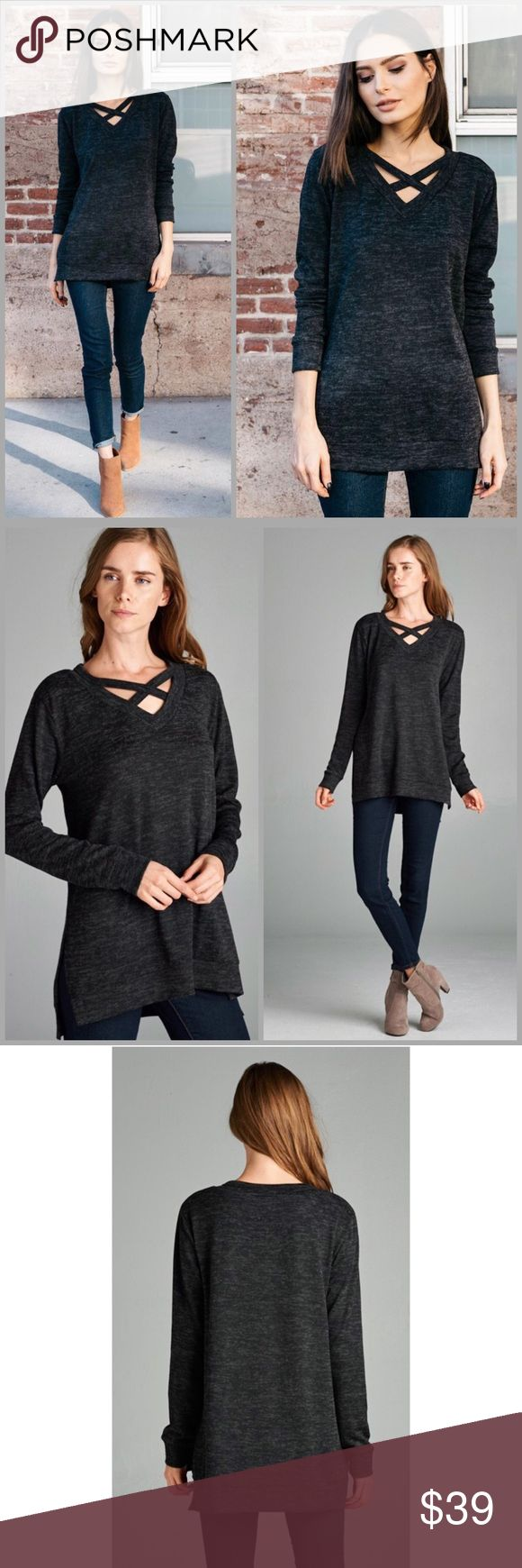 Black Criss Cross V Neck Sweater On trend black V neck cross cross Sweater. Two tone brushed hacci knit fabric. Size S, M, L, XL. Threads & Trends Sweaters V-Necks