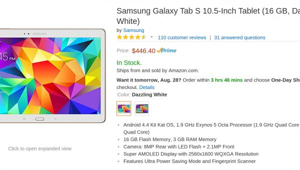 Samsung Galaxy Tab S Deal: $50 Off on Price